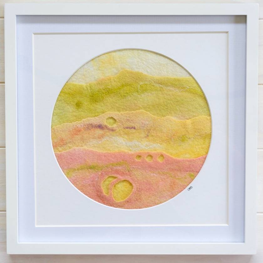 """REDUCED!  Abstract Fibre Art """"A Fleeting Moment"""", Round Mount, Framed"""