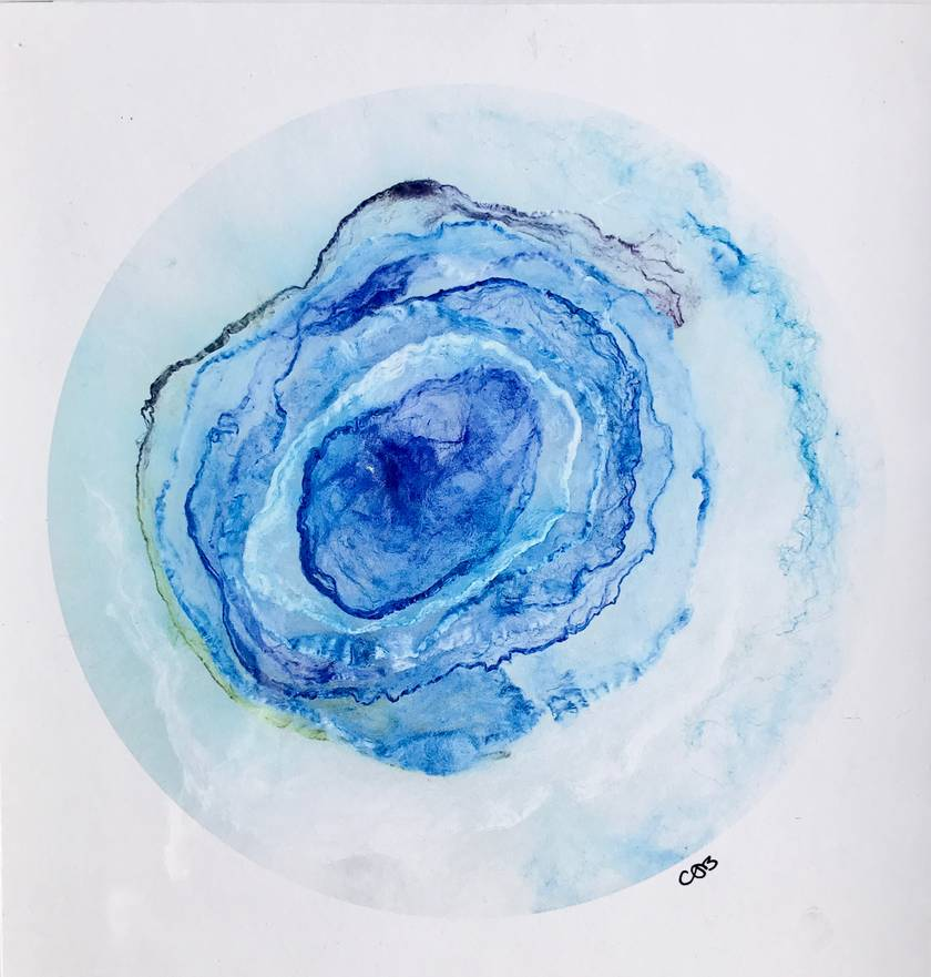 """Blue Geode"" FRAMED Fibre Art Print"