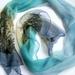 "Light blue and turquoise Hand painted long  Chiffon Silk Scarf "" Harakeke (NZ Flax ) """