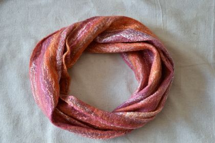 "Circular felted Scarf / Cowl "" Sunset """