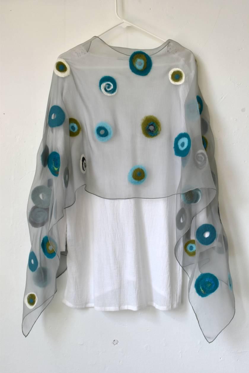 Grey dotty Nuno Felt Silk/Wool Shawl