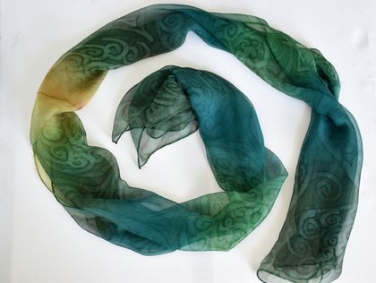 "Hand painted long Silk Scarf "" NZ Fern Curls"" - Mulberry silk, green shades, Christmas gift, New Zealand made"