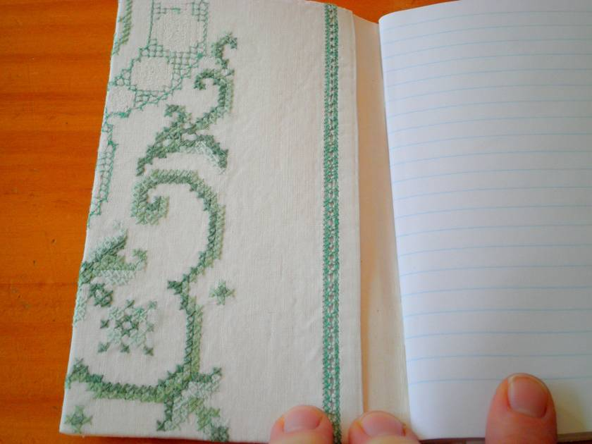 Vintage green cross stitch - Embroidered linen notebook