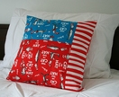 Dr. Suess cushion, red and blue Cat in the Hat