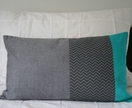 Charcoal grey chevron cushion cover
