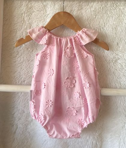 Pink Cotton Daisies Baby Romper
