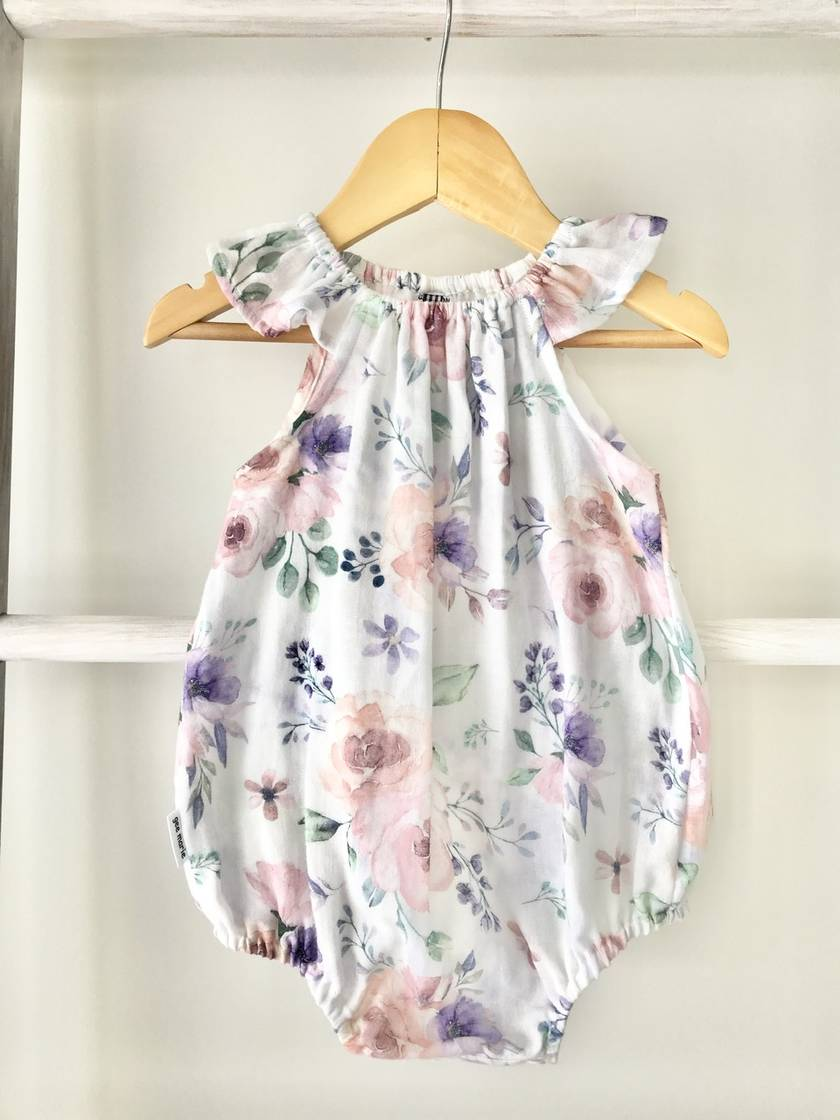 Flower Sack Flutter Romper White Size One
