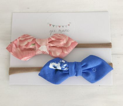 Baby Bow Headbands Apricot Sky