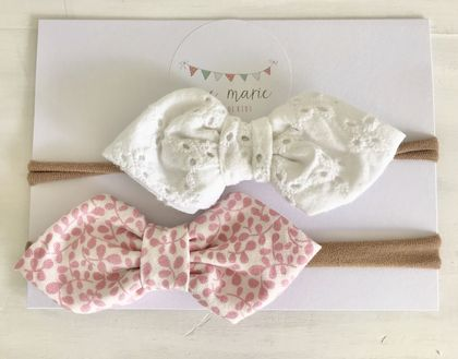 Baby Bow Headbands Liberty White