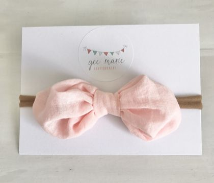 Puff Bow Headband Pink