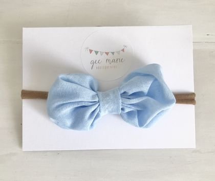 Puff Bow Headband Blue