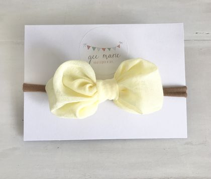 Puff Bow Headband Lemon