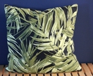 Green leaf print cushion 46x46cm