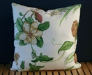 White floral cushion. 46x46cm