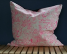 Neon pink & white graphic print cushion 46x46cm