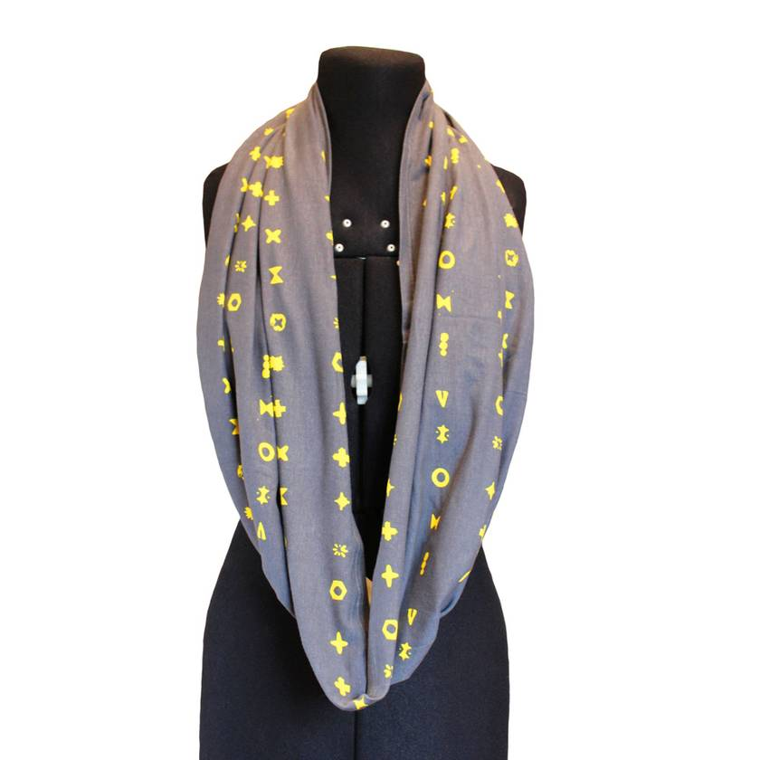 Breastfeeding Scarf and Capsule Cover - Grey, Grey with pattern or Royal Blue