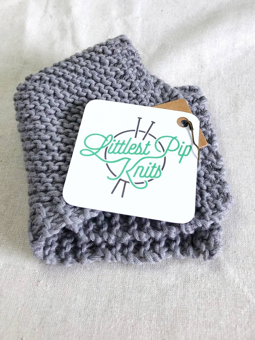 Knit GOTS Certified  Organic Cotton Dishcloth Facecloth Washcloth