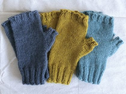 Knit Alpaca Merino Wool Fingerless Mitts