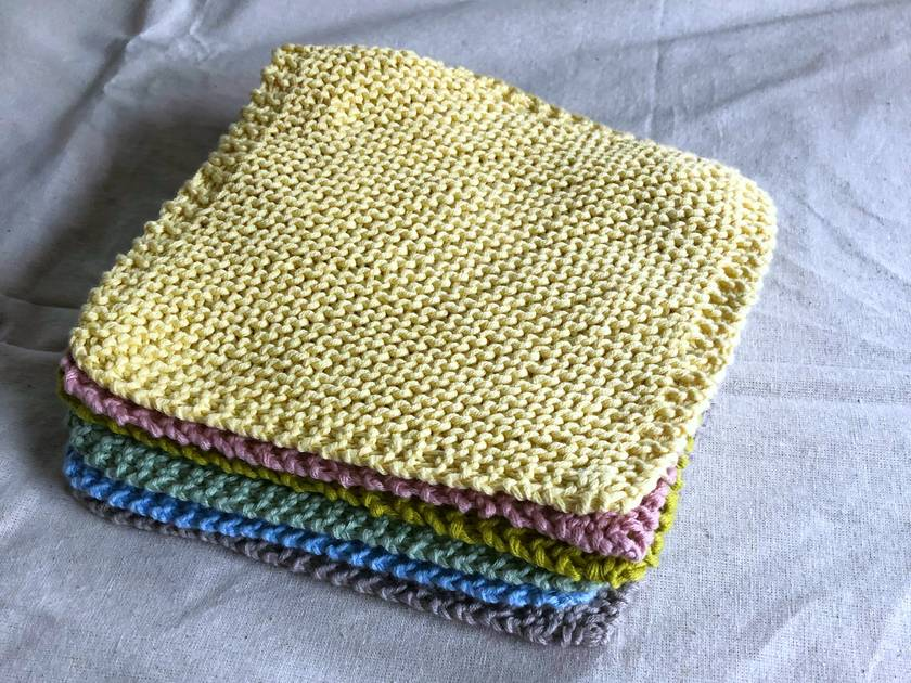 Knit GOTS Certified  Organic Cotton Dishcloth Facecloth Washcloth