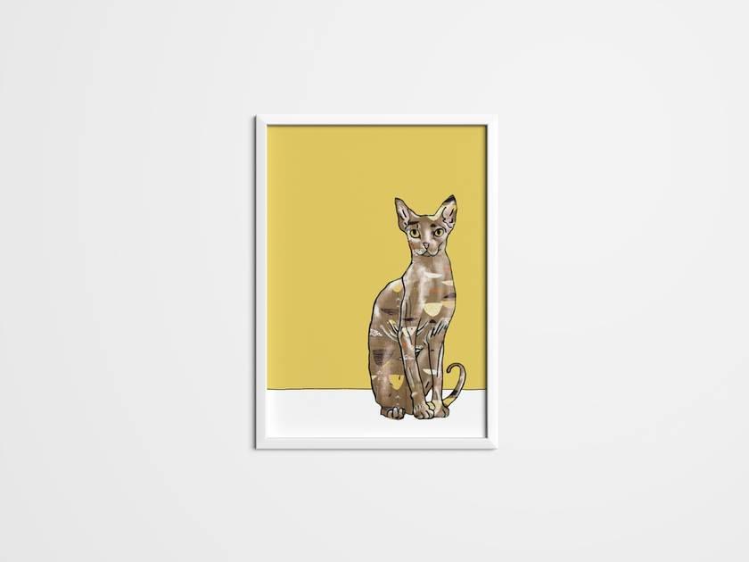Cat prints using 50\'s fabric and wallpaper. Wall art, Art, Canvas ...