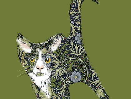 Cat prints using William Morris fabric and wallpaper. Wall art, Art, Canvas art, Wall art prints, Art prints, Nursery wall art, Nursery art, Artwork.