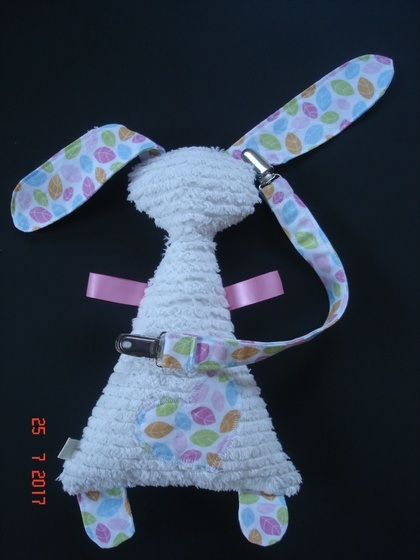 Sensory Bunny Taggie with attachment strap & clips