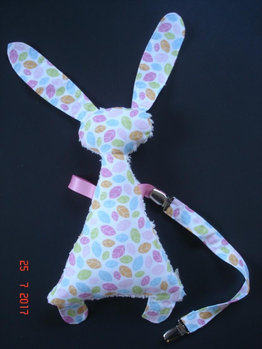 Sensory Bunny Taggie with attachment strap & clips