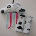 Baby Seat Belt Covers/pads and Cloud Rattle with ribbbons & a Bell.