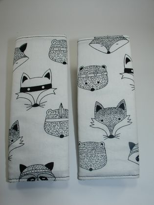 Baby Seat Belt Covers/pads.  Black & White - Fox, Raccoons & Bears - Great gender neutral fabric.