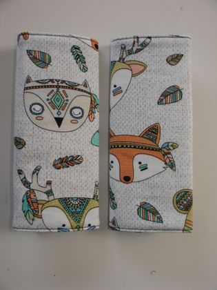 "Baby Seat Belt Covers/pads."" Tribal Animals""  - Great gender neutral fabric."