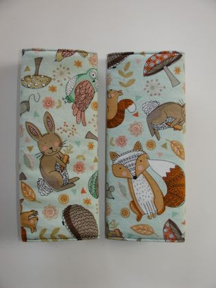 Baby Seat Belt Covers/pads.  Woodland animals  - Great gender neutral fabric.  *Limited Edition fabric*