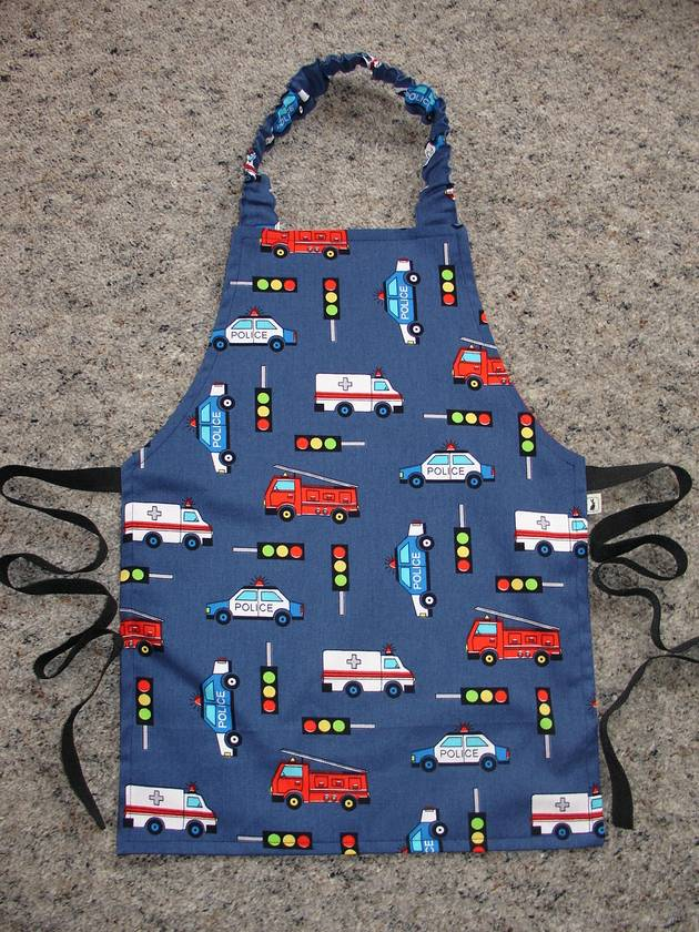 Child's Apron - size 2-3 years  (Fire Truck/Police/Trafic Lights etc)