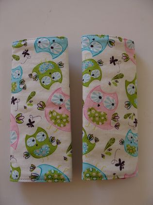 "Child's Cotton seat Belt Covers/pads.  ""Whoo's Cute"""