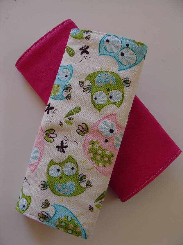 """Child's Cotton seat Belt Covers/pads.  """"Whoo's Cute"""""""