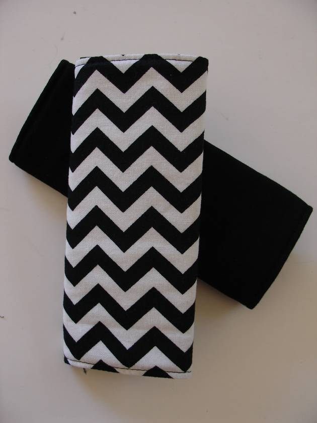 "Child's Cotton seat Belt Covers/pads.  ""Black & White Chevron"""