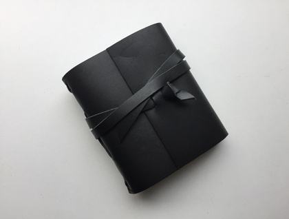 Black Leather Notebook - 3.5 x 4.5 in