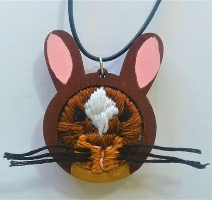 Embroidered bunny necklace or key-chain