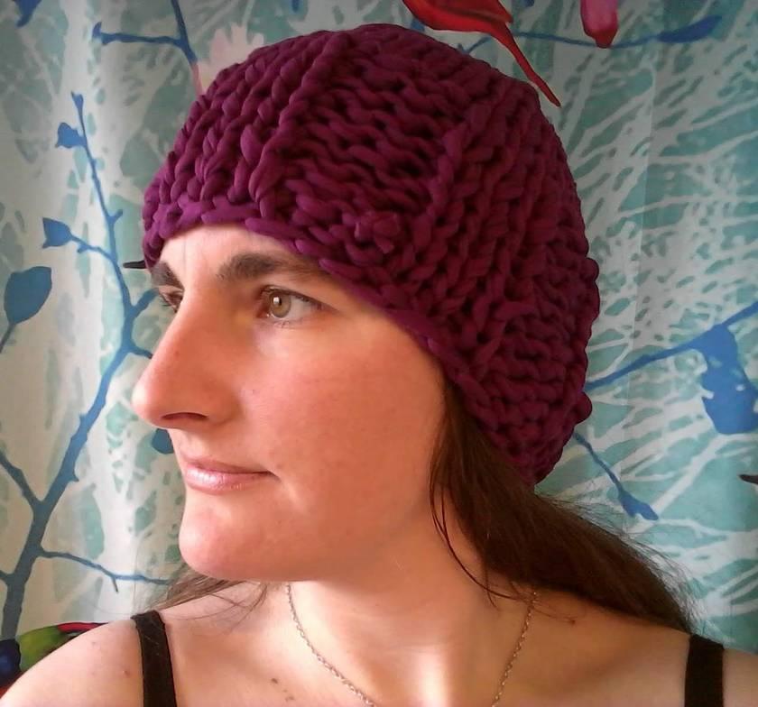 9e39737681d Purple Knitted Cotton Beanie