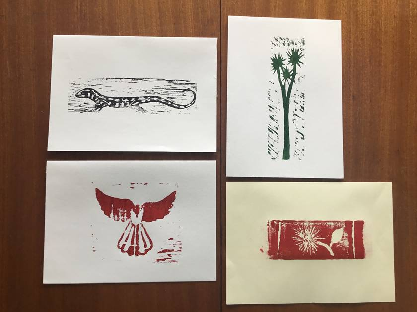 Wood block print cards