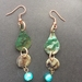 Copper rain drop Earrings - Pounamu green patina with mother of pearl