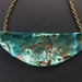 Blue and green patina copper plate necklace