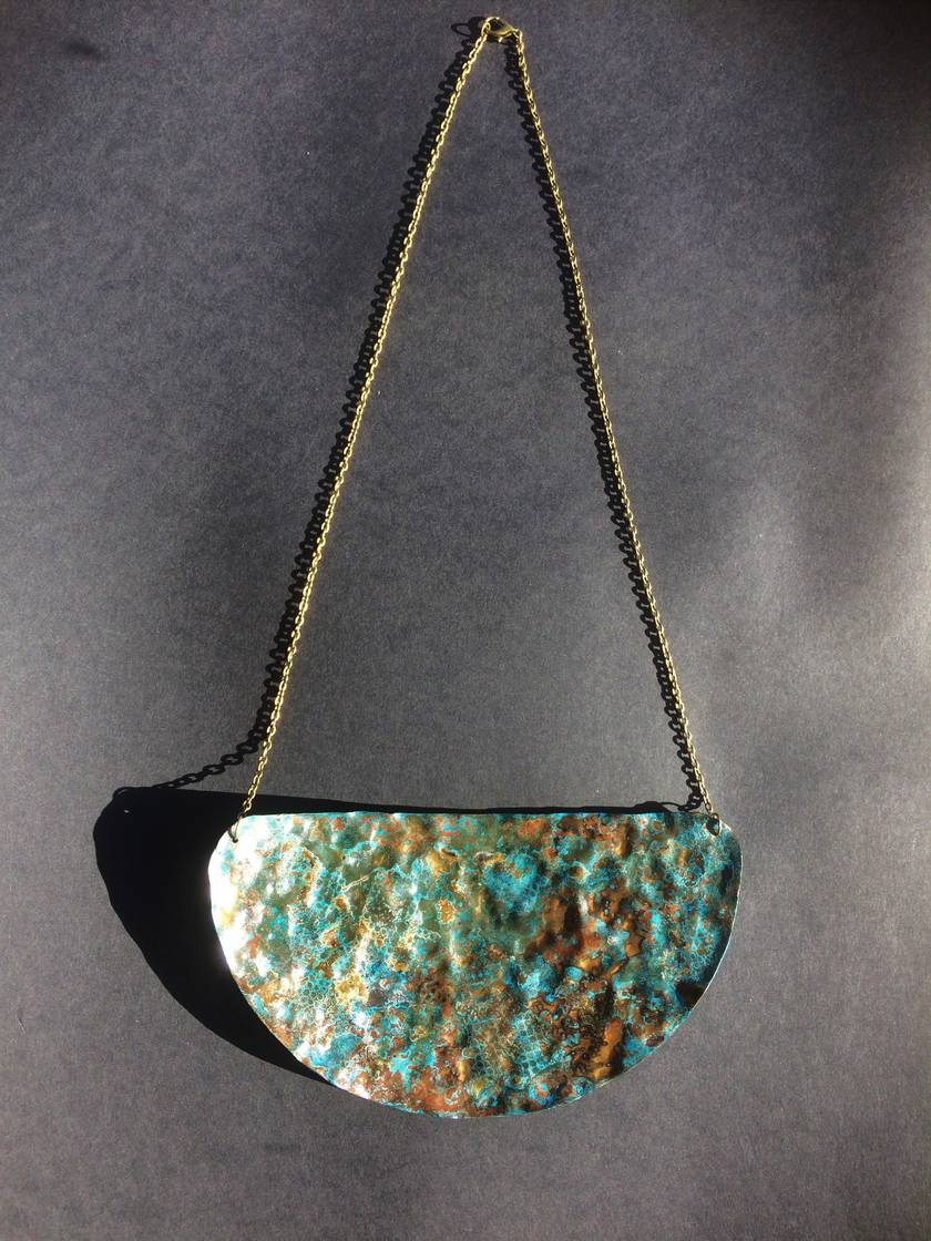 Large Blue and green patina copper plate necklace