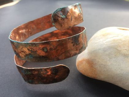 Copper green and blue patina wrap bracelet