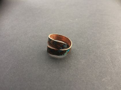 Copper ring blue and green patina
