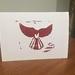 Piwakawaka Woodblock print card Red