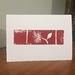 Pohutukawa Woodblock Print Card Red