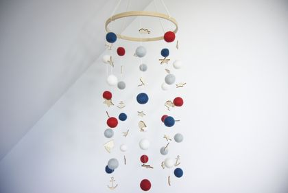 Nautical red, white and blue 100% NZ wool felt ball nursery/cot/baby mobile with wood embellishments