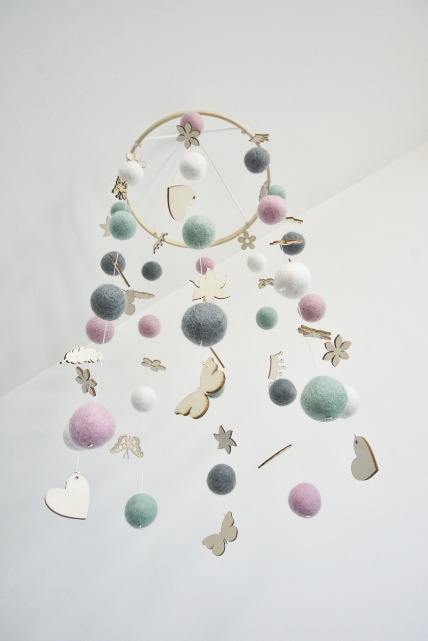 Mint, pink, grey and white 100% NZ wool felt ball baby mobile with wood embellishemnts