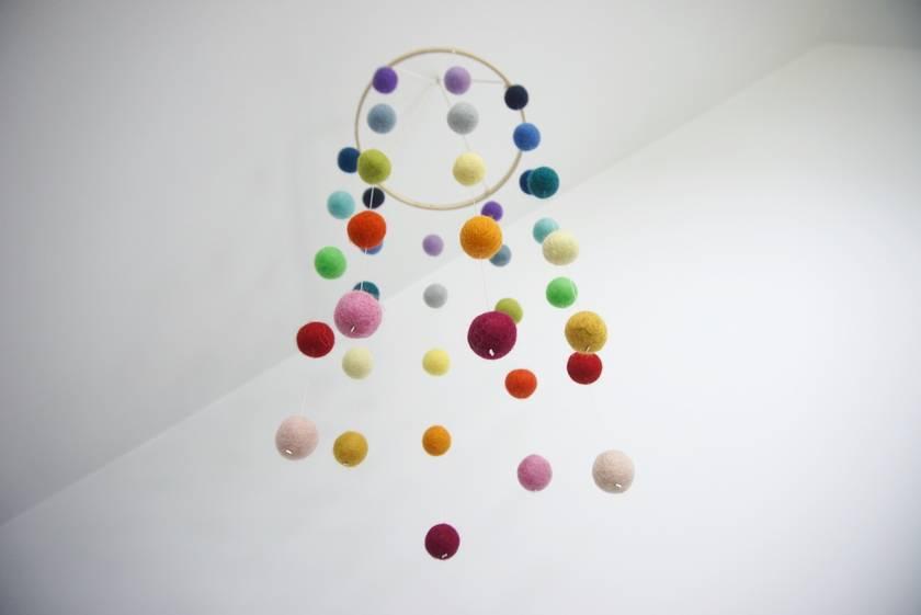 Rainbow felt ball baby mobile