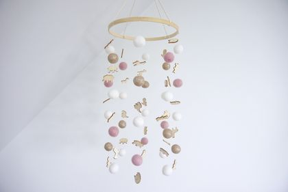 Gold glitter, pink and white baby mobile, nursery decor. 100% NZ wool felt balls with wood embellishments